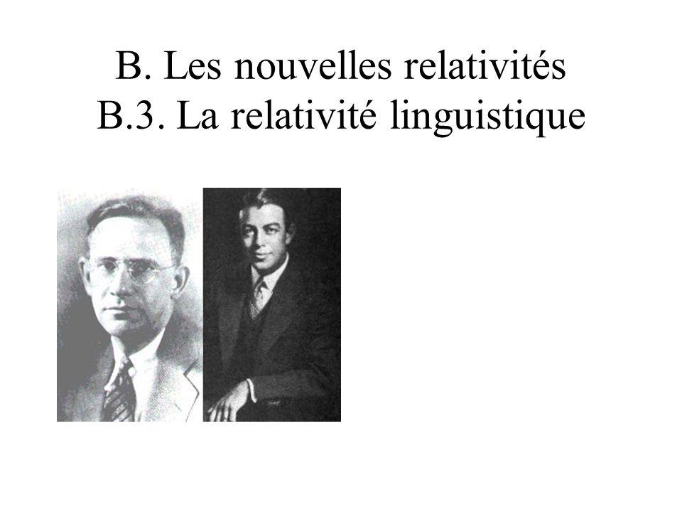 B. Les nouvelles relativités B.3. La relativité linguistique