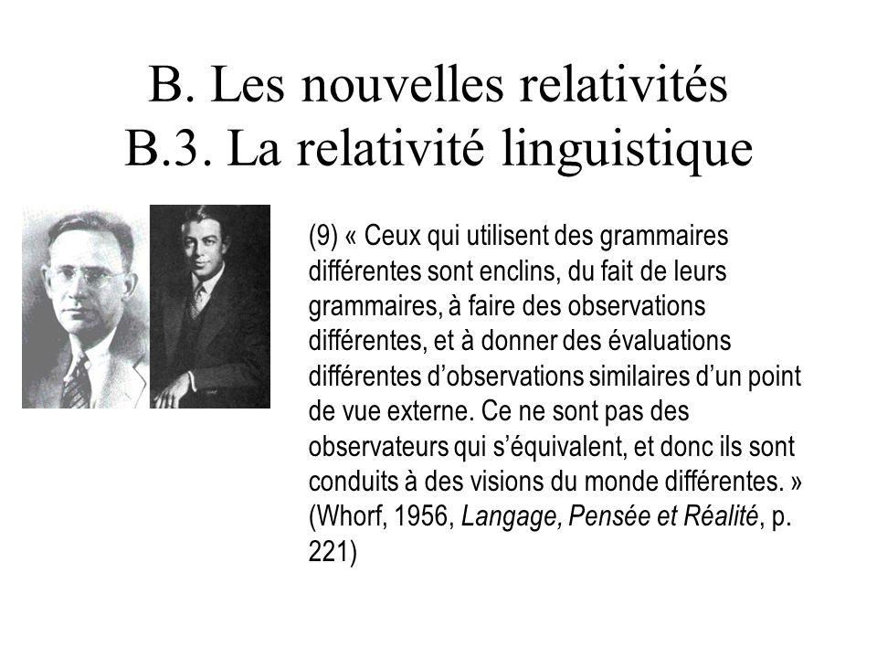 B. Les nouvelles relativités B.3. La relativité linguistique (9) « Ceux qui utilisent des grammaires différentes sont enclins, du fait de leurs gramma