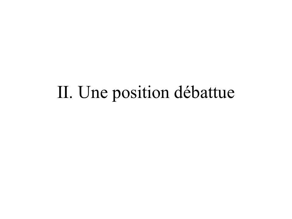 II. Une position débattue