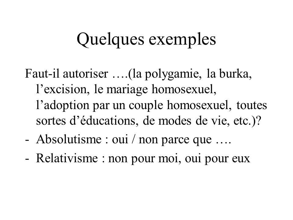 Quelques exemples Faut-il autoriser ….(la polygamie, la burka, lexcision, le mariage homosexuel, ladoption par un couple homosexuel, toutes sortes déd