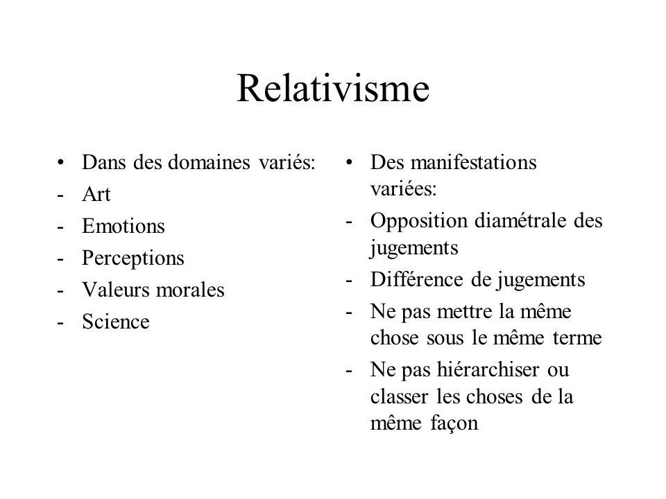 Relativisme Dans des domaines variés: -Art -Emotions -Perceptions -Valeurs morales -Science Des manifestations variées: -Opposition diamétrale des jug