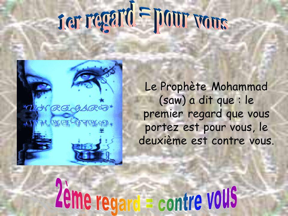 Le Prophète Mohammad (saw) a dit que : le premier regard que vous portez est pour vous, le deuxième est contre vous.