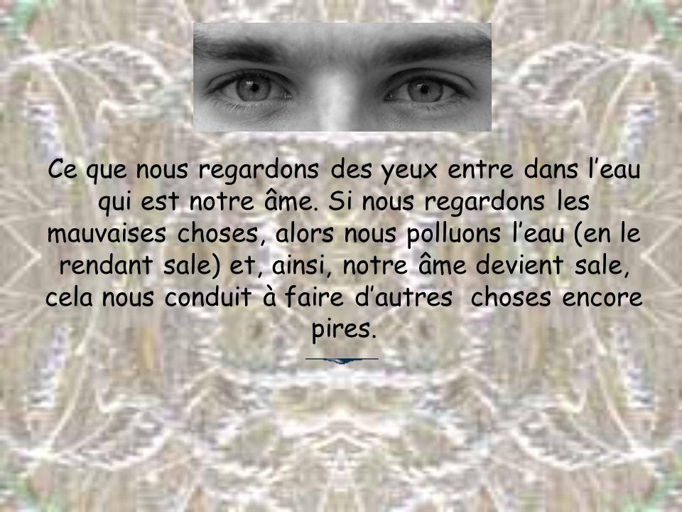Ce que nous regardons des yeux entre dans leau qui est notre âme. Si nous regardons les mauvaises choses, alors nous polluons leau (en le rendant sale