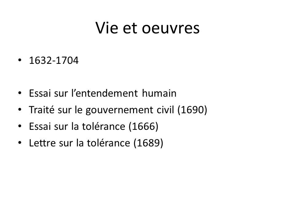 Vie et oeuvres 1632-1704 Essai sur lentendement humain Traité sur le gouvernement civil (1690) Essai sur la tolérance (1666) Lettre sur la tolérance (