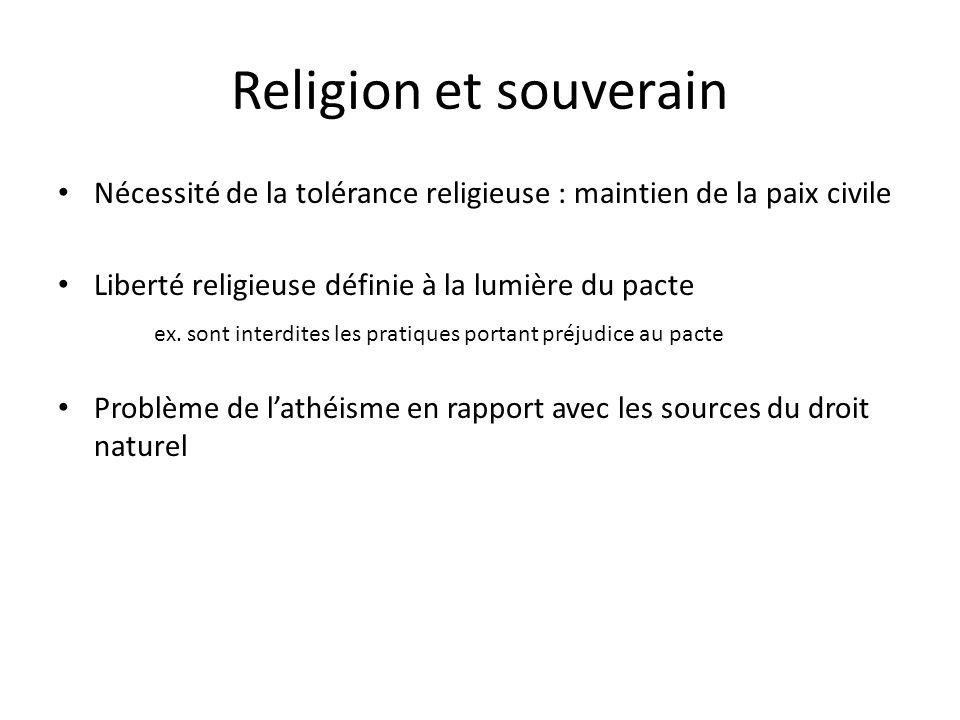 Religion et souverain Nécessité de la tolérance religieuse : maintien de la paix civile Liberté religieuse définie à la lumière du pacte ex. sont inte