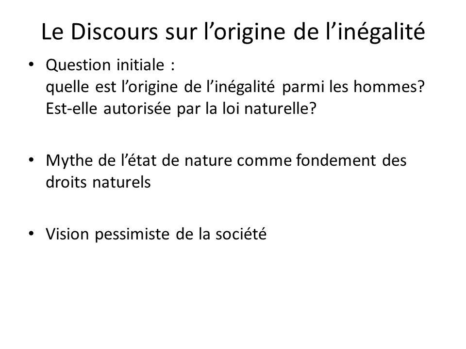 Le Discours sur lorigine de linégalité Question initiale : quelle est lorigine de linégalité parmi les hommes? Est-elle autorisée par la loi naturelle