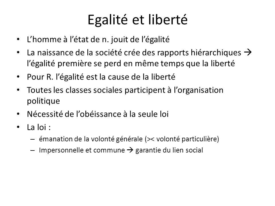 Egalité et liberté Lhomme à létat de n. jouit de légalité La naissance de la société crée des rapports hiérarchiques légalité première se perd en même