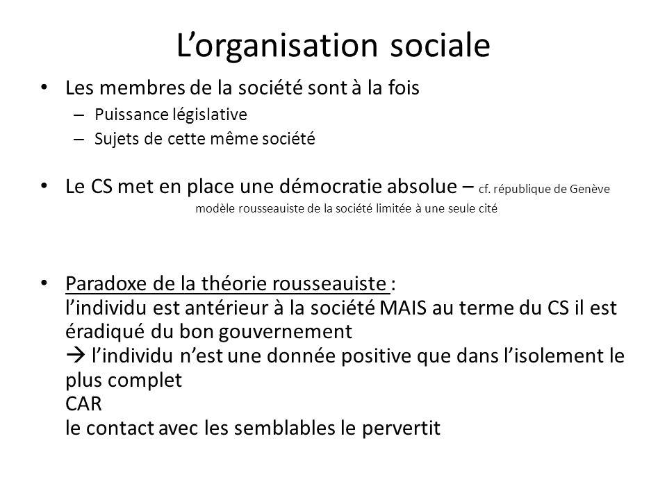 Lorganisation sociale Les membres de la société sont à la fois – Puissance législative – Sujets de cette même société Le CS met en place une démocrati