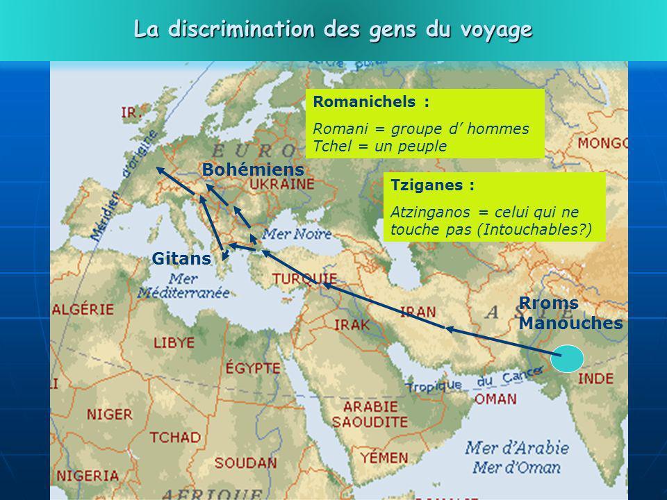 29 Rroms Manouches Gitans Bohémiens Romanichels : Romani = groupe d hommes Tchel = un peuple La discrimination des gens du voyage Tziganes : Atzinganos = celui qui ne touche pas (Intouchables?)