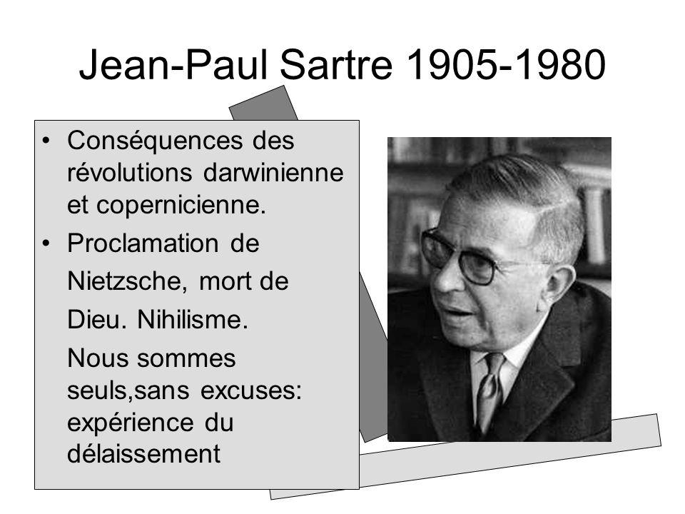 Jean-Paul Sartre 1905-1980 Conséquences des révolutions darwinienne et copernicienne. Proclamation de Nietzsche, mort de Dieu. Nihilisme. Nous sommes