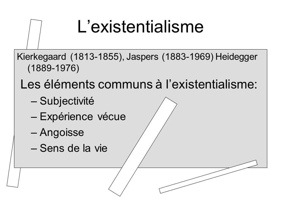 Lexistentialisme Kierkegaard (1813-1855), Jaspers (1883-1969) Heidegger (1889-1976) Les éléments communs à lexistentialisme: –Subjectivité –Expérience