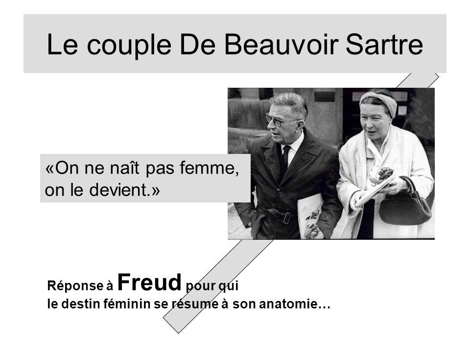 Le couple De Beauvoir Sartre «On ne naît pas femme, on le devient.» Réponse à Freud pour qui le destin féminin se résume à son anatomie…