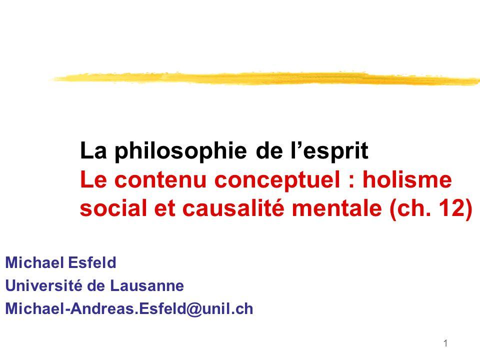 1 La philosophie de lesprit Le contenu conceptuel : holisme social et causalité mentale (ch. 12) Michael Esfeld Université de Lausanne Michael-Andreas