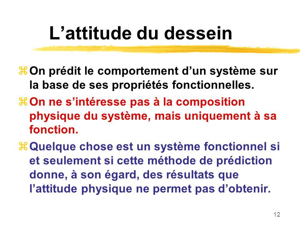 12 Lattitude du dessein On prédit le comportement dun système sur la base de ses propriétés fonctionnelles. On ne sintéresse pas à la composition phys