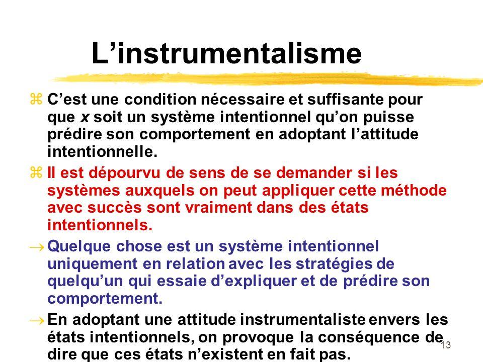 13 Linstrumentalisme Cest une condition nécessaire et suffisante pour que x soit un système intentionnel quon puisse prédire son comportement en adopt