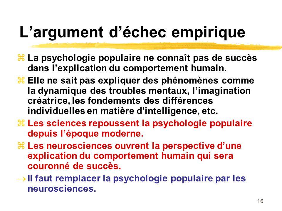 16 Largument déchec empirique La psychologie populaire ne connaît pas de succès dans lexplication du comportement humain. Elle ne sait pas expliquer d