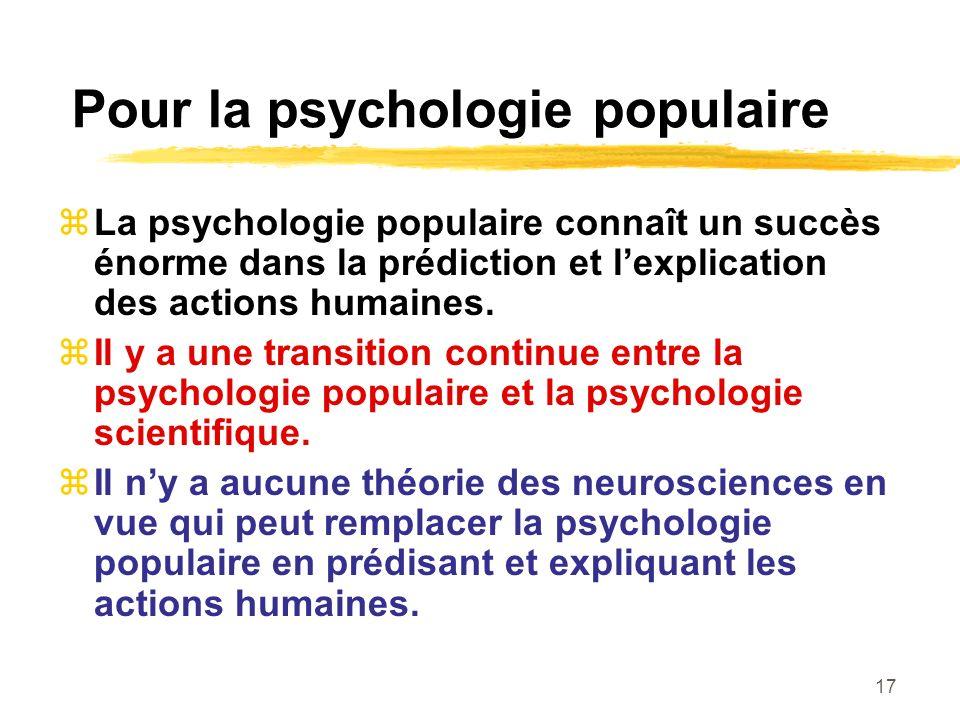 17 Pour la psychologie populaire La psychologie populaire connaît un succès énorme dans la prédiction et lexplication des actions humaines. Il y a une