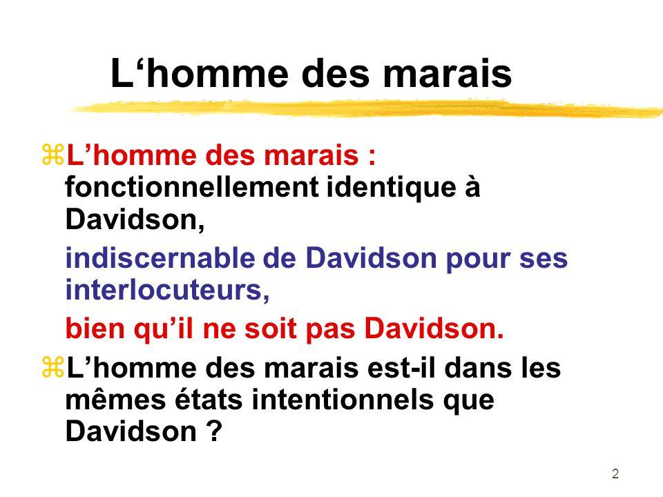 2 Lhomme des marais Lhomme des marais : fonctionnellement identique à Davidson, indiscernable de Davidson pour ses interlocuteurs, bien quil ne soit p