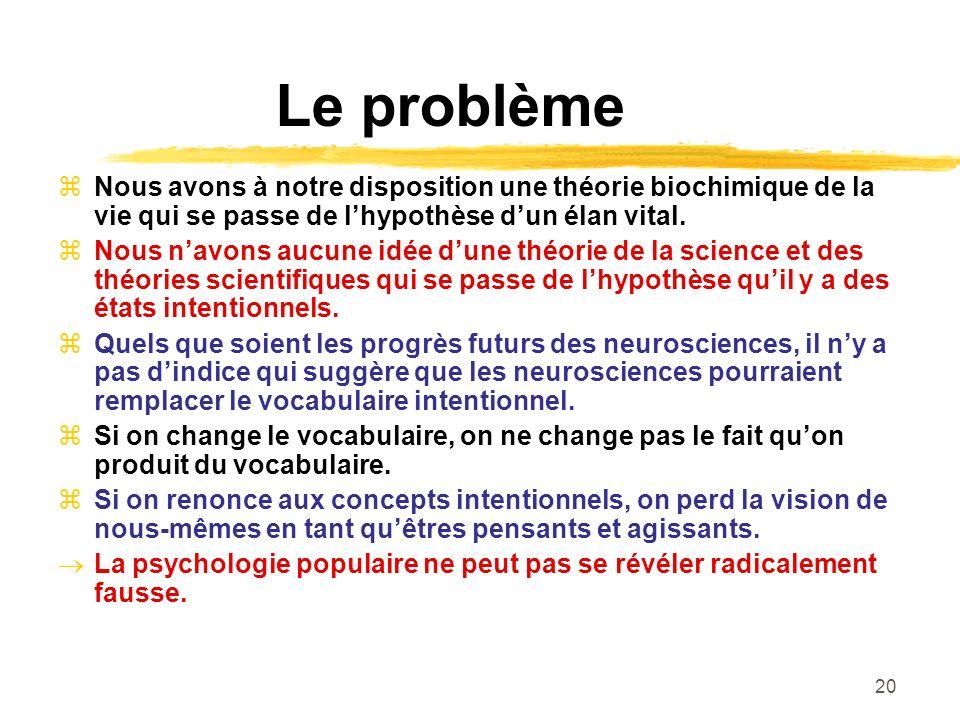 20 Le problème Nous avons à notre disposition une théorie biochimique de la vie qui se passe de lhypothèse dun élan vital. Nous navons aucune idée dun