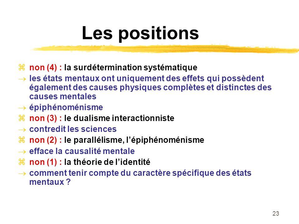 23 Les positions non (4) : la surdétermination systématique les états mentaux ont uniquement des effets qui possèdent également des causes physiques c