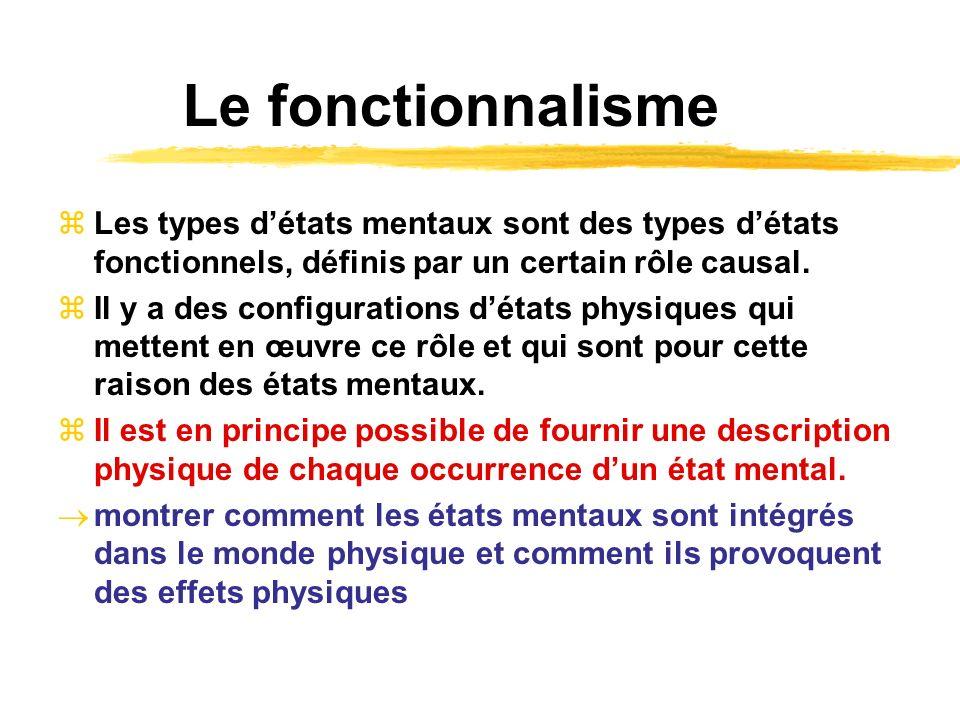 Le fonctionnalisme Les types détats mentaux sont des types détats fonctionnels, définis par un certain rôle causal. Il y a des configurations détats p