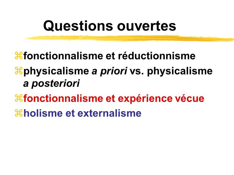 Questions ouvertes fonctionnalisme et réductionnisme physicalisme a priori vs. physicalisme a posteriori fonctionnalisme et expérience vécue holisme e