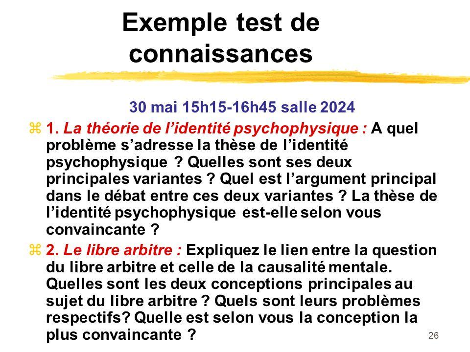 26 Exemple test de connaissances 30 mai 15h15-16h45 salle 2024 1. La théorie de lidentité psychophysique : A quel problème sadresse la thèse de lident