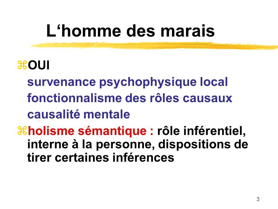 3 Lhomme des marais OUI survenance psychophysique local fonctionnalisme des rôles causaux causalité mentale holisme sémantique : rôle inférentiel, int