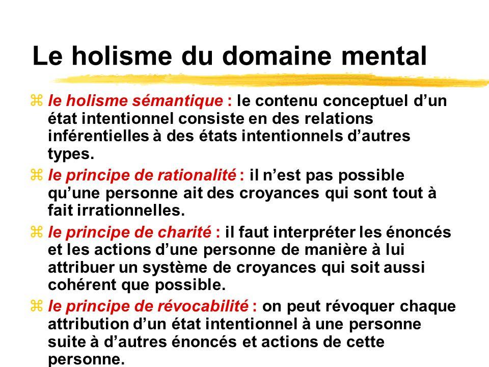 Le holisme du domaine mental le holisme sémantique : le contenu conceptuel dun état intentionnel consiste en des relations inférentielles à des états