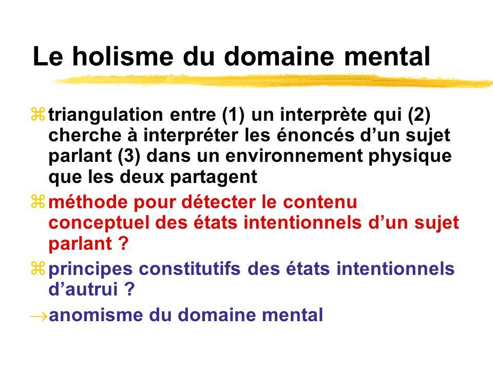 Le holisme du domaine mental triangulation entre (1) un interprète qui (2) cherche à interpréter les énoncés dun sujet parlant (3) dans un environneme