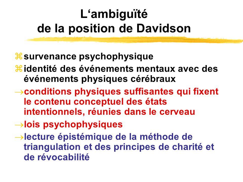 Lambiguïté de la position de Davidson survenance psychophysique identité des événements mentaux avec des événements physiques cérébraux conditions phy