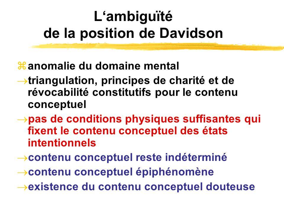 Lambiguïté de la position de Davidson anomalie du domaine mental triangulation, principes de charité et de révocabilité constitutifs pour le contenu c