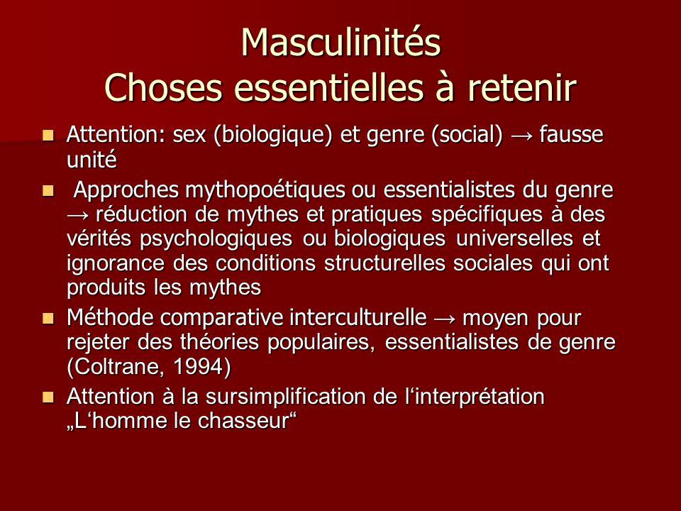 Masculinités Choses essentielles à retenir Attention: sex (biologique) et genre (social) fausse unité Attention: sex (biologique) et genre (social) fa