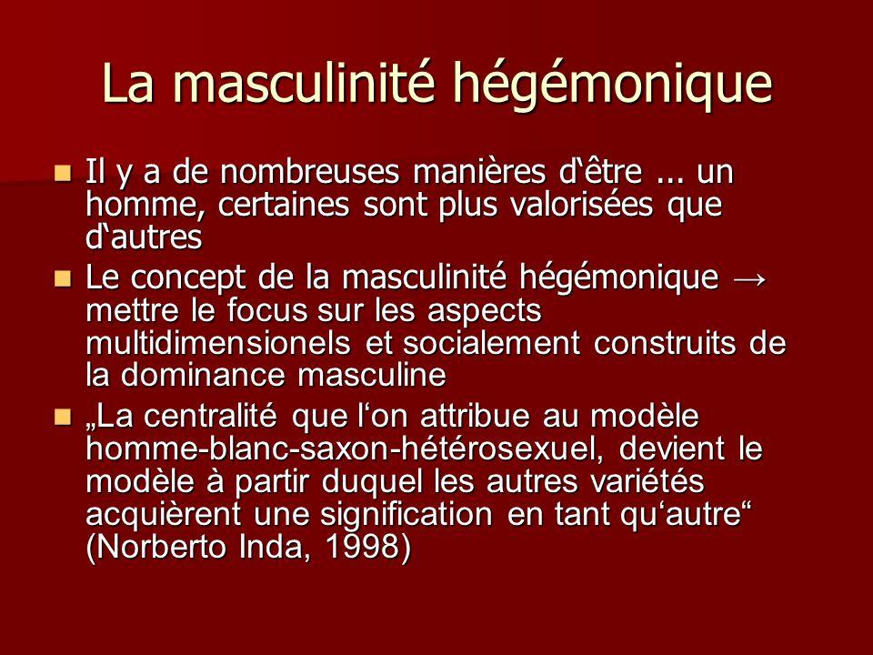 La masculinité hégémonique Il y a de nombreuses manières dêtre... un homme, certaines sont plus valorisées que dautres Il y a de nombreuses manières d