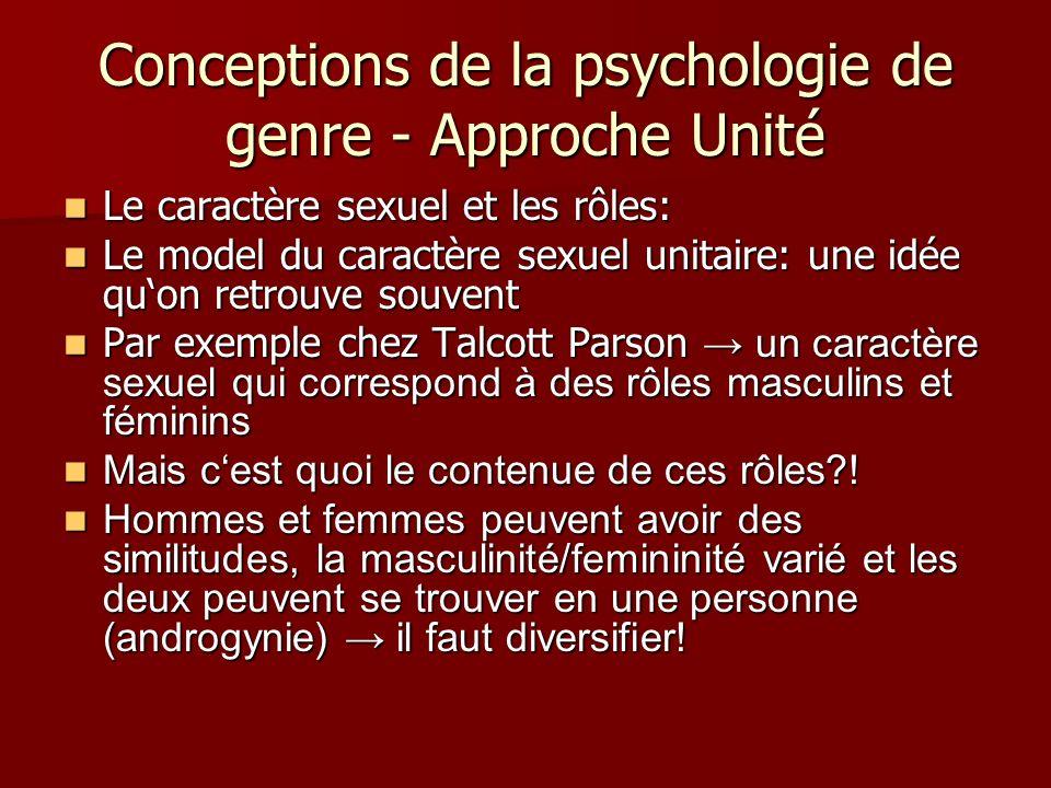 Conceptions de la psychologie de genre - Approche Unité Le caractère sexuel et les rôles: Le caractère sexuel et les rôles: Le model du caractère sexu