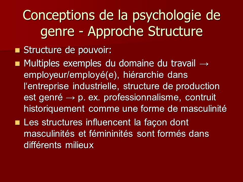 Conceptions de la psychologie de genre - Approche Structure Structure de pouvoir: Structure de pouvoir: Multiples exemples du domaine du travail employeur/employé(e), hiérarchie dans lentreprise industrielle, structure de production est genré p.