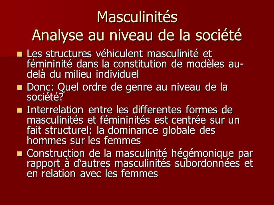 Masculinités Analyse au niveau de la société Les structures véhiculent masculinité et fémininité dans la constitution de modèles au- delà du milieu individuel Les structures véhiculent masculinité et fémininité dans la constitution de modèles au- delà du milieu individuel Donc: Quel ordre de genre au niveau de la société.