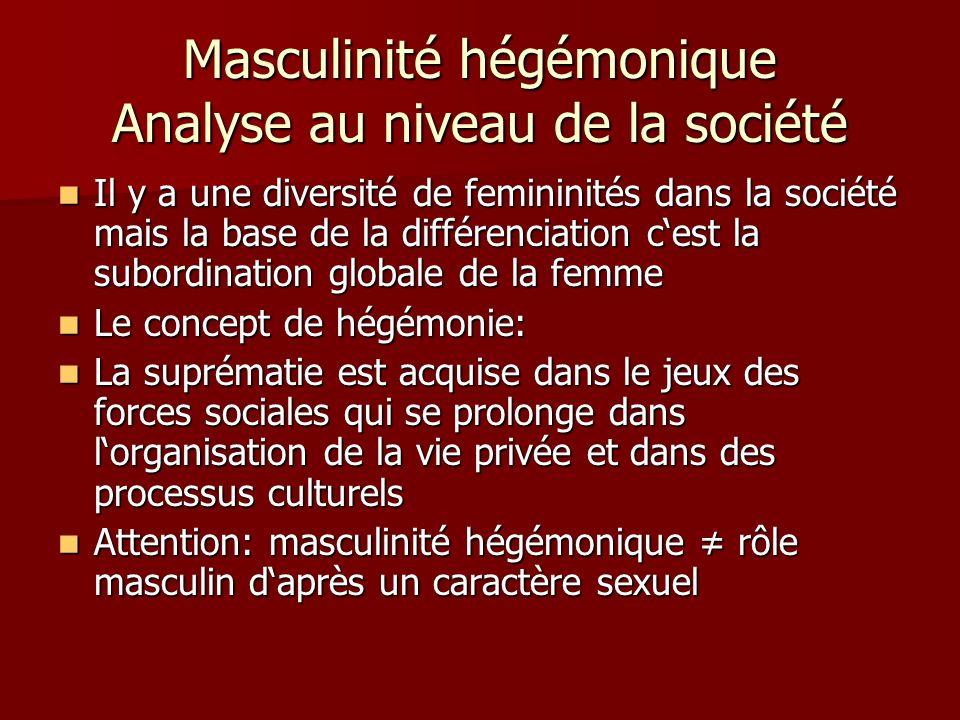 Masculinité hégémonique Analyse au niveau de la société Il y a une diversité de femininités dans la société mais la base de la différenciation cest la subordination globale de la femme Il y a une diversité de femininités dans la société mais la base de la différenciation cest la subordination globale de la femme Le concept de hégémonie: Le concept de hégémonie: La suprématie est acquise dans le jeux des forces sociales qui se prolonge dans lorganisation de la vie privée et dans des processus culturels La suprématie est acquise dans le jeux des forces sociales qui se prolonge dans lorganisation de la vie privée et dans des processus culturels Attention: masculinité hégémonique rôle masculin daprès un caractère sexuel Attention: masculinité hégémonique rôle masculin daprès un caractère sexuel