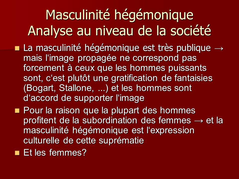 Masculinité hégémonique Analyse au niveau de la société La masculinité hégémonique est très publique mais limage propagée ne correspond pas forcement