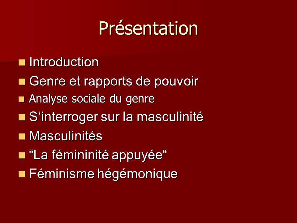 Présentation Introduction Introduction Genre et rapports de pouvoir Genre et rapports de pouvoir Analyse sociale du genre Analyse sociale du genre Sin