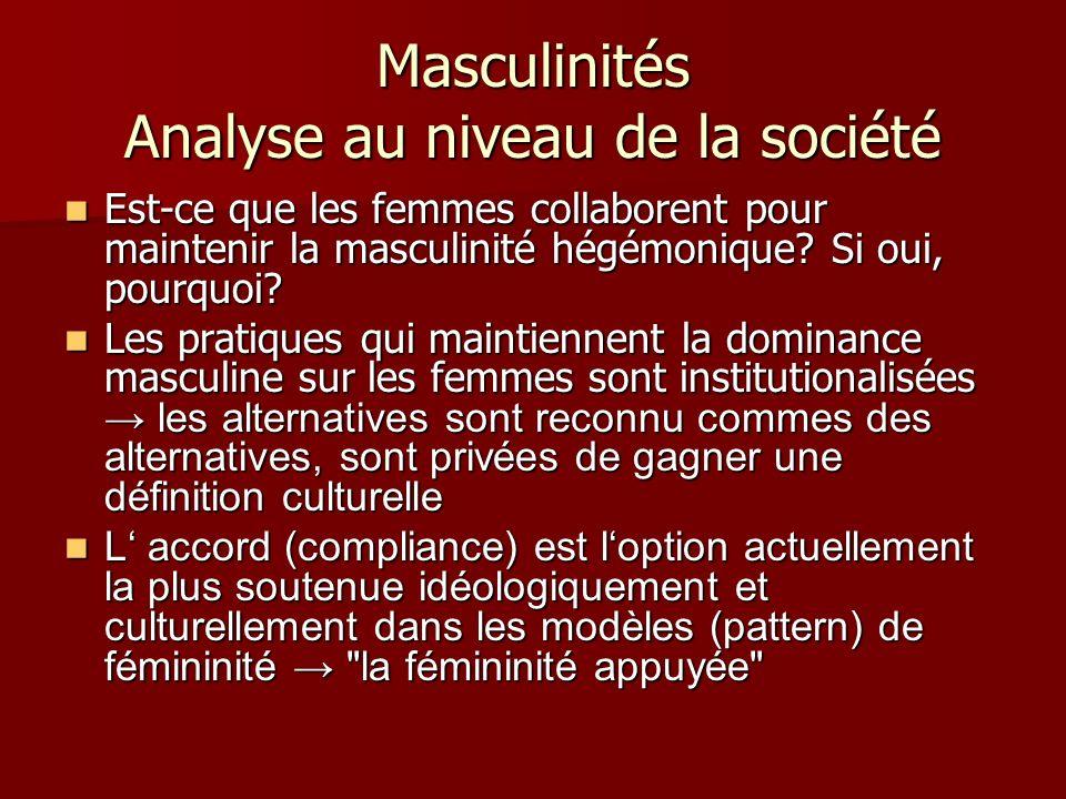 Masculinités Analyse au niveau de la société Est-ce que les femmes collaborent pour maintenir la masculinité hégémonique? Si oui, pourquoi? Est-ce que