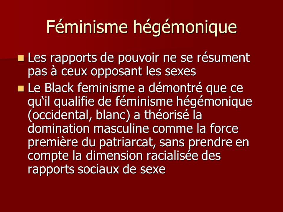 Féminisme hégémonique Les rapports de pouvoir ne se résument pas à ceux opposant les sexes Les rapports de pouvoir ne se résument pas à ceux opposant les sexes Le Black feminisme a démontré que ce quil qualifie de féminisme hégémonique (occidental, blanc) a théorisé la domination masculine comme la force première du patriarcat, sans prendre en compte la dimension racialisée des rapports sociaux de sexe Le Black feminisme a démontré que ce quil qualifie de féminisme hégémonique (occidental, blanc) a théorisé la domination masculine comme la force première du patriarcat, sans prendre en compte la dimension racialisée des rapports sociaux de sexe