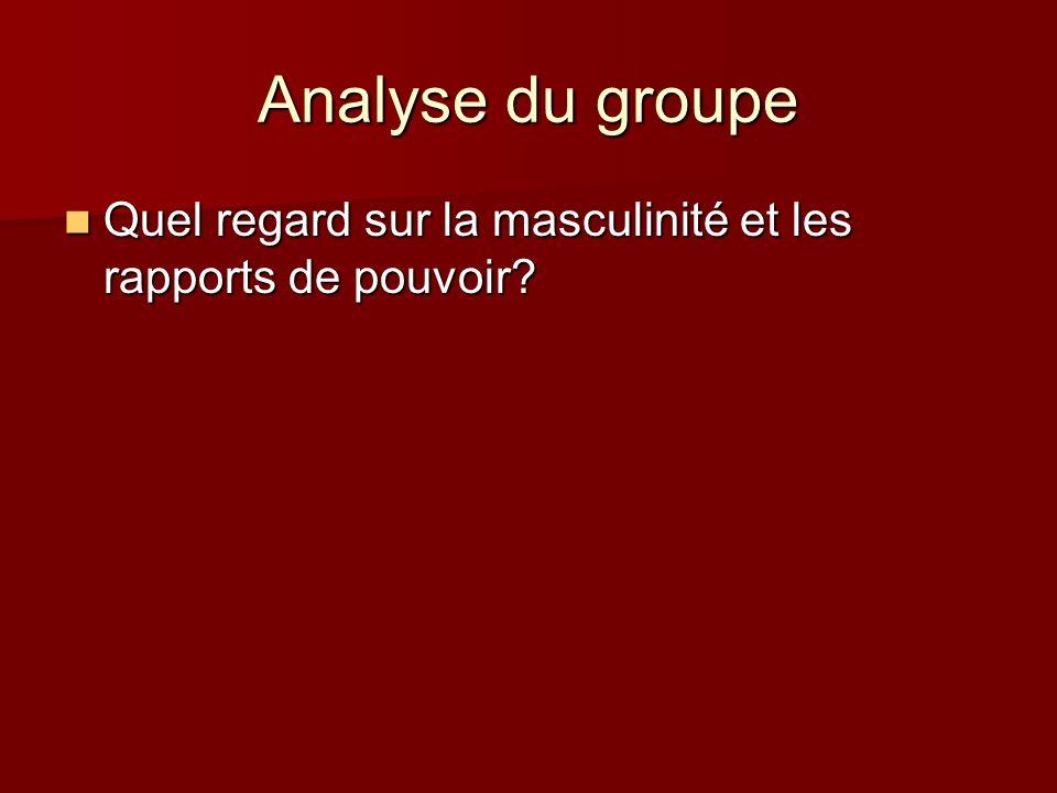 Analyse du groupe Quel regard sur la masculinité et les rapports de pouvoir? Quel regard sur la masculinité et les rapports de pouvoir?