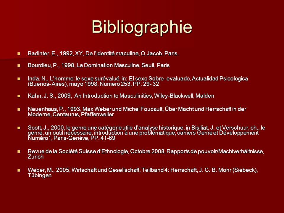 Bibliographie Badinter, E., 1992, XY, De l'identité maculine, O.Jacob, Paris. Badinter, E., 1992, XY, De l'identité maculine, O.Jacob, Paris. Bourdieu
