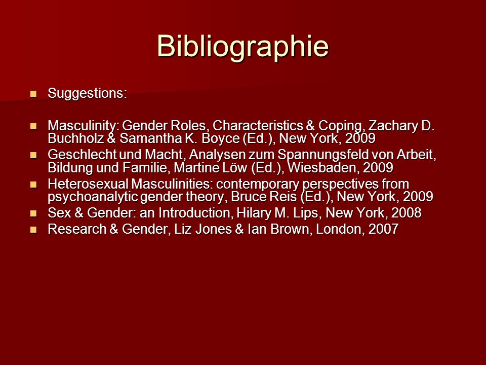 Bibliographie Suggestions: Suggestions: Masculinity: Gender Roles, Characteristics & Coping, Zachary D.