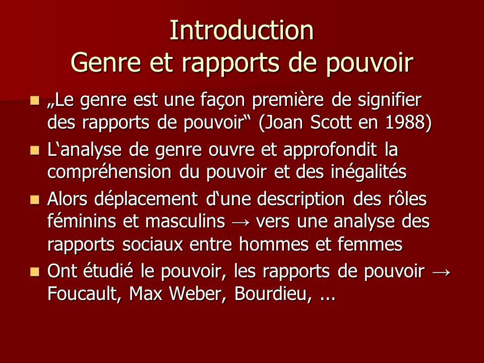 Introduction Genre et rapports de pouvoir Le genre est une façon première de signifier des rapports de pouvoir (Joan Scott en 1988) Le genre est une f