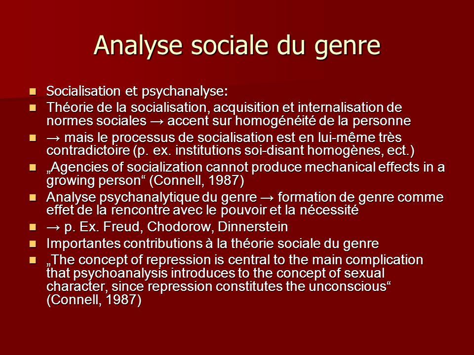 Analyse sociale du genre Socialisation et psychanalyse: Socialisation et psychanalyse: Théorie de la socialisation, acquisition et internalisation de
