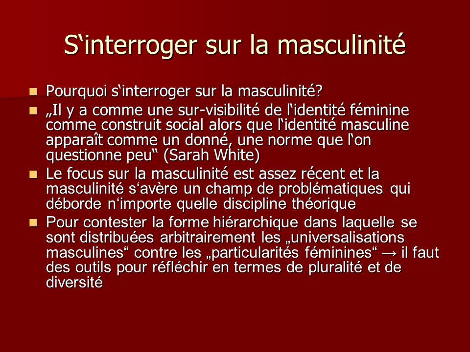 Sinterroger sur la masculinité Pourquoi sinterroger sur la masculinité? Pourquoi sinterroger sur la masculinité? Il y a comme une sur-visibilité de li