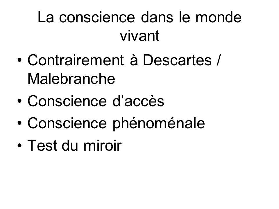 La conscience dans le monde vivant Contrairement à Descartes / Malebranche Conscience daccès Conscience phénoménale Test du miroir
