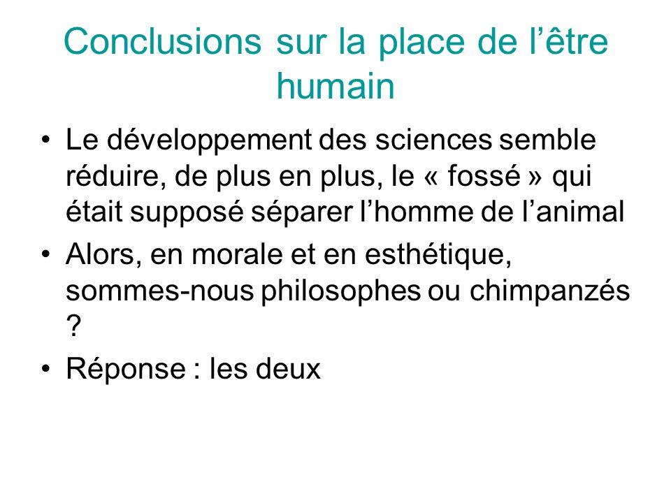 Conclusions sur la place de lêtre humain Le développement des sciences semble réduire, de plus en plus, le « fossé » qui était supposé séparer lhomme de lanimal Alors, en morale et en esthétique, sommes-nous philosophes ou chimpanzés .